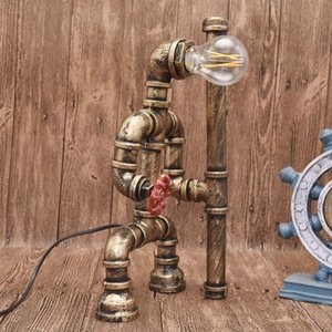 Table Lamps Loft Vintage Industrial Steam Punk Metal Antiques Iron-based Water Pipe Lamp Desk Light Bulbs For Living Room