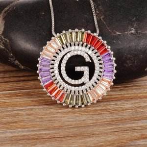 Chains Arrival Copper Colorful Cubic Zirconia 26 English Letters Pendant Necklaces Women's Fashion Jewelry CZ Collier Femme Gift