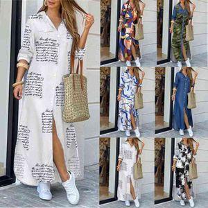 autumn maxi dresses for women Women Button Down Long Shirt Dress Chain Print Lapel Neck Party Dress Casual Long Sleeve Oversized