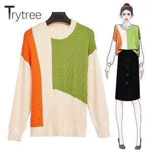 Trytree 2019 Winter Women Casual Sweater O-neck Patchwork Pullovers 2 Colour Sweater Fashion Computer Knitted Loose Top1