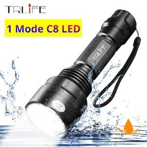 방수 C8 1 모드 전문 사냥 전술 플래시 라이트 T6 L2 LED 토치 알루미늄 하이킹 캠핑 사용 18650 손전등 토치