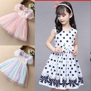 Vestido de verão infantil para meninas primavera inchado de manga curta fantasia festa de aniversário crianças lantejouled arco-íris vestido de fada 970 x2