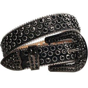 2021designerBlack Crystal Rhinestone Men Bling Full Diamond Studded Crocodile Leather Waist Belt Strap Cinto De Strass