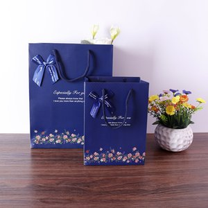 Factory in Stock Korean Style Exquisite Gift Bag Dark Blue Background Dots Gift Bag Paper Bag
