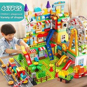 171-269PCS Marble Race Run Big Size Block Building Blocks Funnel Slide Blocks DIY Educational Big Brick Toys For Children Gift K716