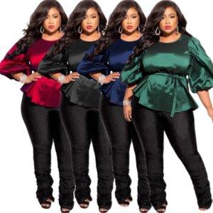 ZJFZML ZZ Women Blouses Clothing Tops Large Size Casual Three Quarter Lantern Sleeve & Shirts Dropshipping Wholesale New