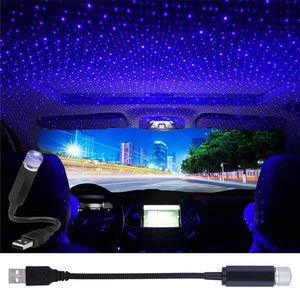 미니 LED 효과 USB 스타 프로젝터 나이트 라이트 자동차 지붕 조명 휴대용 조정 가능한 낭만적 인 바이올렛 분위기 갤럭시 내부 램프