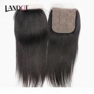 Brazilian Straight Silk Base Closures Malaysian Peruvian Indian Cambodian Virgin Human Hair Lace Closure Free Middle 3 Way Part Closures