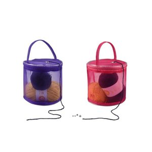 Knitting Yarn Storage Bag Case Yarn Drum Women's Crochet Hook Thread Pouch Round Mesh DIY Knitting Crochet Tote Bag HHD10414