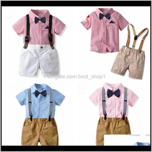 Designer Clothes Boys Bow Shirts Suspender Pants 2Pcs Sets Short Sleeve Children Outfits Boutique Kids Clothing 7 Designs Dw4162 E6Z68 Qvdj6