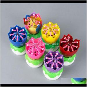 عيد الميلاد الموسيقية الأزهار الدورية شمعة لوتس تألق زهرة الشموع كعكة التبعي هدية KKA7955 8TORW 561TK