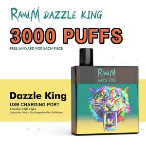 factory wholesale FUMOT original Rand M Dazzle King 3000 Puffs E Cigarette Disposable Device Kit Prefilled 8ml Pods RandM Vape Stick Pen RGB Light 12 Colorsor