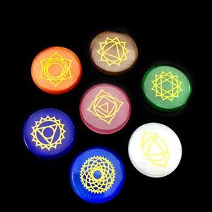 7pcs Chakra reiki Crystals Healing Opal Cat eye stone Seven Chakras Symbols Holistic Energy Balancing Polished Hand Piece Natural Stones Beads Decoration