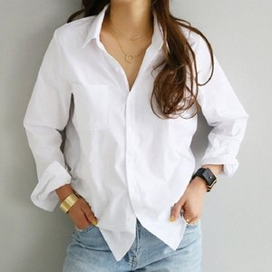 Ladies Vintage Loose Blouse Women Shirt Casual Workwear Office Lady Soft White OL Style Women Shirt Female Blouse Tops Blusas 210406
