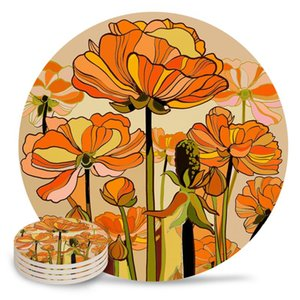 Mats & Pads Orange Poppies Retro Flowers Coasters Waterproof Placemats For Table Christmas Home Decor Coffee Ceramic