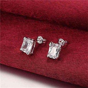 women's Rectangular diamond sterling silver plated earrings size 0.9CM*0.7CM DMSE098,fashion 925 silver Plate earring jewelry Stud