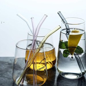 200x8mm Colorful Reusable Glass Straws High Borosilicate Glass Eco Friendly Drinking Straw for Cocktail Smoothie Milkshake Dinkware OWF10034