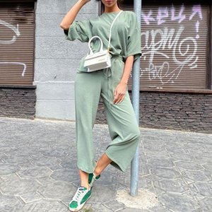 Women's Tracksuits 2021 Summer Women Set Loose Short Sleeve Top Shirt Solid Color Long Pants Basic Two Piece Beach Home Casual Outfit Suit