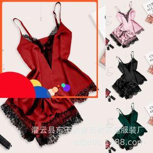 Eyelashes de seda de hielo para mujer Pajamas traje de dos piezas sexy ropa casera seductora ropa interior