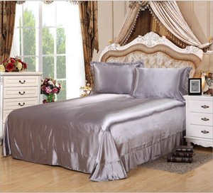 Solid Color Home Textile Silver Gray Silky Satin Bedspread Imitated Silk Bedding Bed sheet cases for Twin Queen King Size