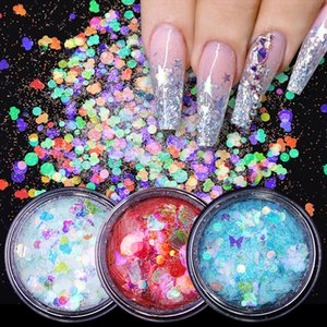 Perfections1 Box Nail Glitter Flakes Sparkly 3D Butterfly Star Round Shape Colorful Sequins Nails Art Decorations