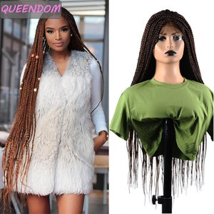 30 Ombre Brown Braided Lace Front Wigs Long Box Braids Wig for Black Women Synthetic Lace Frontal Wig with Baby Hair Daily Use