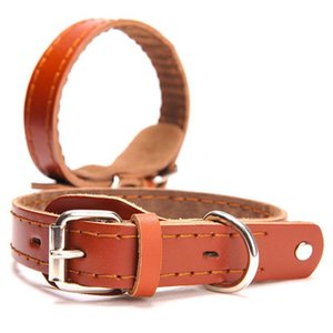 Fashion PU Leather Dog Collar Corium Comfort Sew Pet For Medium And Big Supplies Accessories(brown) Collars & Leashes