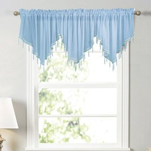 Curtain & Drapes 1PCS Solid Color Curtains Windows Triangular For Home Kitchen Window Sheer Living Room Cafe Decoration