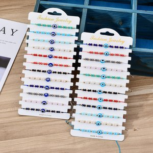 Blue Evil Eye Charm Bracelets 12pcs set Fashion Jewelry Adjustable Crystal Rice Beads Card Wax Rope Braided Bracelet Bangles for Women Men Gifts