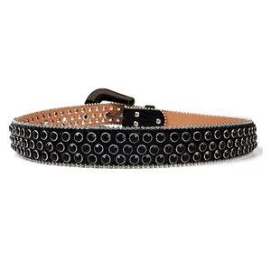 Vintage Western Rhinestones Belt Removable Buckle Cowboy Cowgirl Bling Leather Crystal Studded Belt For Women Men