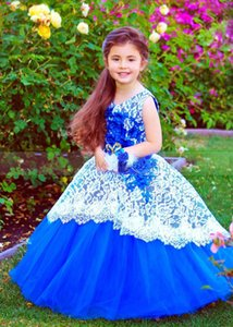Girl's Dresses Handmade Fluffy Flower Girl Dress Tulle Floral Lace Wedding Party Gown Princess Birthday Corset Back