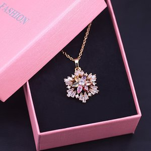Zircon Luxury Snowflake Gold Square Multi Color Jewelry For Women Earrings Necklace Set In Store