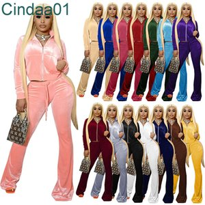 Women Tracksuits Solid 2 Piece Velvet Outfits Zipper Front Pocket Long Sleeve Jacket Bell Bottom Wid Leg Pant Matching Suits 15 Colors