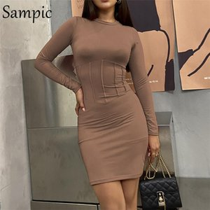 Sampic Fashion Party Night Club Sexy Long Sleeve Bodycon Mini Dress Women 2021 Autumn Winter Short Casual Wrap Elegant Dresses