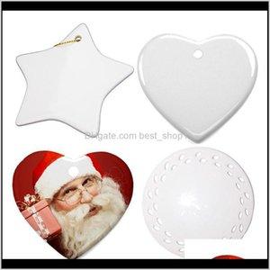 Decorations Blanks Christmas Decoration Ceramic Pendant For Sublimation Ink Transfer Printing Heat Press Diy Owc2580 Og8Dp Hxuzb