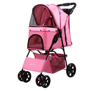Cubiertas de asiento de coche para perros Cochecito de mascota plegable rápido con la cuerda de seguridad Oxford Paño + Malla portátil portátil 4 ruedas Trolley Train Funda
