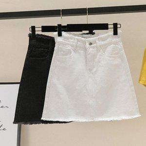 Fermuar Mini Sıkı Denim Etek Artı Boyutu XXXL Etekler Siyah Beyaz Kalem Wrap Anne Yüksek Bel Kısa Jean Yaz Için
