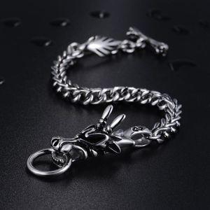 Dragon Head Men's Bracelet Male 316L Stainless Steel Wheat Link Chain Punk Jewelry 22cm Charm Bracelets