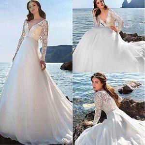 Gorgeous Chiffon V-neck Neckline A-line Wedding Dresses with Beadings Belt Long Sleeve Lace Bridal Dress Custom Made 2019