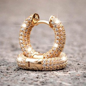 Stud Rhinestone Crystal Round Circle Earring Hip Hop Bling Micro Paved CZ Earrings For Women