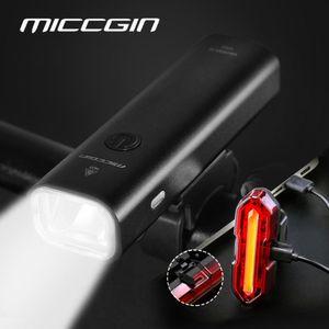 Miccgin LED BICICLETE LIGHT USB recargable 2000mAh aluminio delantero trasero a prueba de lluvia bicicleta ultraligero MTB Linterna Ciclismo