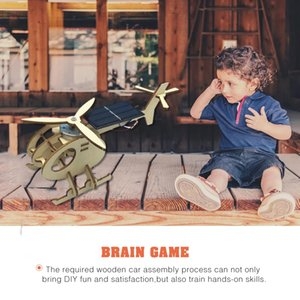 3D Assemble Solar Energy Powered Helicopter Wooden Puzzle Plane Wood Model Building DIY Craft Kit Creative Educational Toy