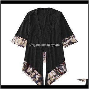 & Mens Clothing Apparel Drop Delivery 2021 Incerun Chinese Style Outerwear Vintage Cloak Casual Kimono Half Sleeve Irregular Long Trench Coat