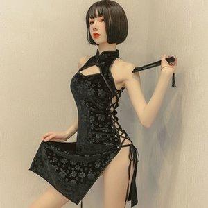 Lingerie 2021 New Qipao Black White Bandage Dress for Hot Style Cosplay Erotic Cheongsam Suit Women's Underwear Porn Slutty