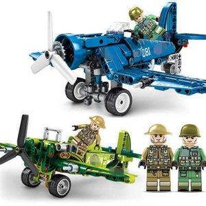 Technic Militari WW2 US F4U Fighter Pearl Harbor Building Block Helicopter Airplane Bricks blocks children For toys