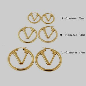 Fashion Style Stud Earrings Lady Women Gold Silver-Colour Hardware Engraved Hollow Out V Initials Hoop Earring M64288 Size S M L