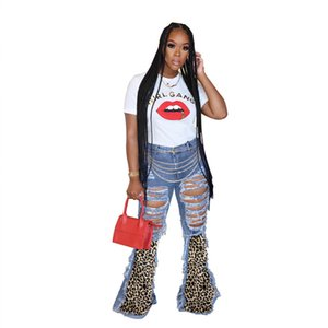 Plus size 3XL Women ripped jeans hollow out denim pants fashion streetwear slim night clothing sexy clubwear leopard bodycon pants 4344