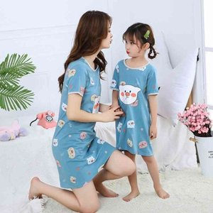 Girls Cotton Nightdress Summer Children Clothing Baby Pajamas Unicorn Nightgowns Teenage Mere Fille Cartoon Sleepwear Dresses
