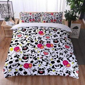Bedding Sets 3D Printing Bed Cover Black And White Bear Quilt Pillowcase Oversized Duvet Bedroom