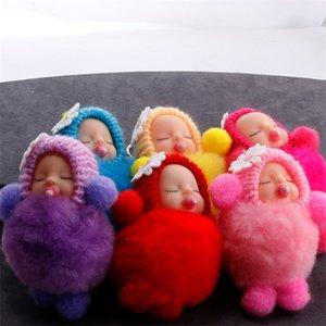 Nippel Puppe Keychain Sleeping Baby Schlüssel Schnalle Plüsch Handytasche Anhänger Nette Mode Flauschige Pelzschmuck Ornament 2 7Qs M2